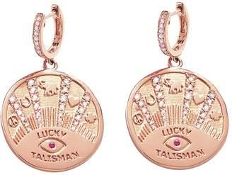 Marlo Laz Talisman Coin Hoop Earrings - Rose Gold