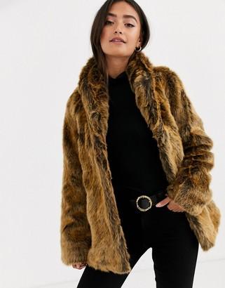 Asos DESIGN stand collar faux fur coat in brown