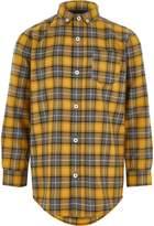River Island Boys yellow check long sleeve shirt