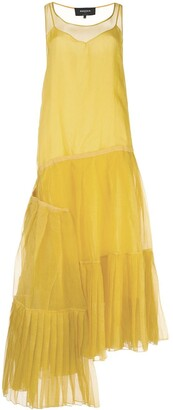 Rochas Asymmetric Hem Pleat Detail Silk Dress