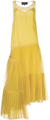 Rochas Asymmetric Hem Pleat Detail Silk Dress