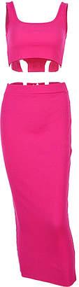 Yokodea Women's Maxi Skirts NeonRose - Neon Rose Sleeveless Crop Top & Midi Skirt - Women