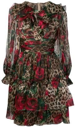 Dolce & Gabbana Multi-Print Ruffled Dress
