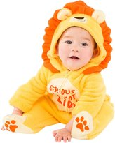 Fun Stuff Baby Boys' Fleece Lion Coverall with Footies and Hood (0-6 Months)