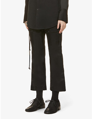 Song For The Mute Cropped high-rise flared shell trousers
