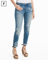 White House Black Market Petite Embroidered Girlfriend Jeans