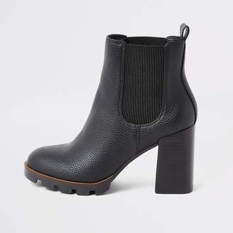 River Island Black chunky heel chelsea boots