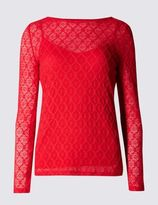 Marks and Spencer Geometric Lace Long Sleeve Jersey Top