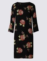 Marks and Spencer Oriental Print 3/4 Sleeve Shift Dress