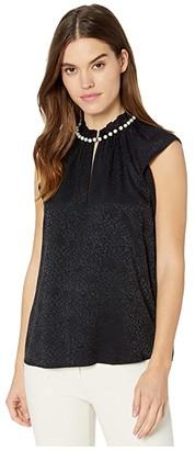 Kate Spade Pearl Neck Shell (Black) Women's Clothing