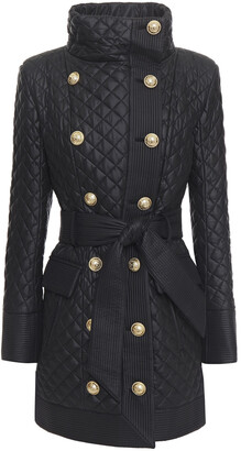 Balmain Double-breasted Quilted Shell Coat