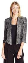 Kasper Women's Foil Print Swirl Jacquard Flyaway Jacket
