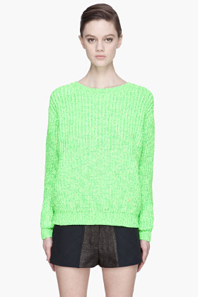 Kenzo Fluorescent green thick-knit sweater