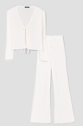 Nasty Gal Womens Say It Lounger Tie Cardigan and Wide-Leg Pants Set - Cream