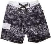 SAFS Women's Cover Up Short Shorts Paisley Swim Trunks Board Shorts Black