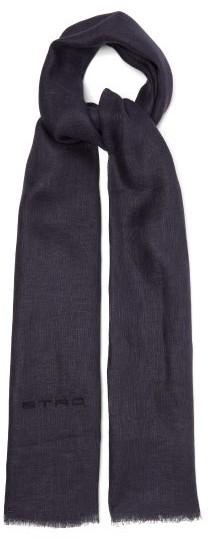 Etro Eyelash-fringed Linen Scarf - Mens - Blue