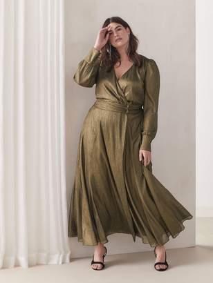 Bronze Metallic Wrap Maxi Dress - Addition Elle