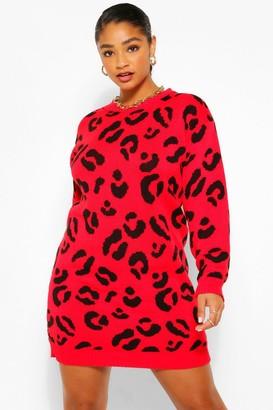 boohoo Plus Leopard Knitted Dress