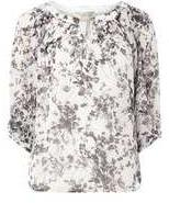Dorothy Perkins Womens **Billie And Blossom Spring Monochrome Trim Blouse- Black