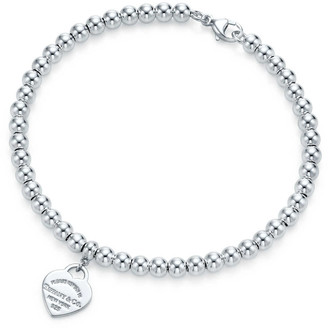 Tiffany & Co. Return to TiffanyTM mini heart tag in sterling silver on a bead bracelet - Size 7 in