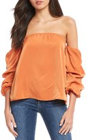 Sugar Lips Sugarlips Off-the-Shoulder Ruched Bubble Sleeve Blouse