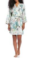 Flora Nikrooz Kaylee Floral Charmeuse & Metallic Lace Wrap Robe