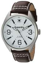 Superdry Men's 'Military' Quartz Brass-Plated-Stainless-Steel and Leather Dress Watch, Color:Brown (Model: SYG199TS)