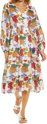 Roller Rabbit Cheri Floral Kiana Long Sleeve Cover-Up Dress