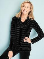 Talbots Luxe Velour Tinsel-Stripe Cowlneck Top