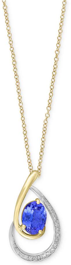 Effy Tanzanite Royale by Tanzanite (1-1/8 ct. t.w.) & Diamond (1/10 ct. t.w.) Pendant Necklace in 14k Gold & White Gold