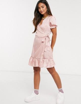 Qed London wrap front satin jacquard mini dress in pink