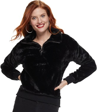 Nine West Petite Half-Zip Faux-Fur Sweater
