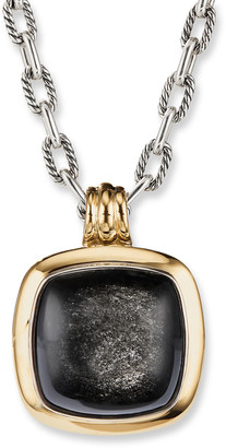 David Yurman 27mm Albion 18k Pendant Enhancer, Obsidian