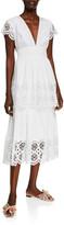 Lela Rose Embroidered Eyelet Poplin Tiered V-Neck Dress