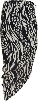 Veronica Beard Ari Ruched Animal Print Skirt