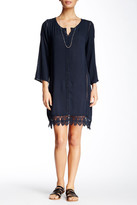 Monoreno Crochet Trimmed 3/4 Length Sleeve Dress