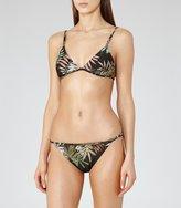 Reiss Gisele Print T - Printed Bikini Top in Black, Womens