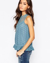 Pepe Jeans Sleeveless Shirt with Crochet Yoke