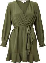 Miss Selfridge Petite Khaki Wrap Tea Dress
