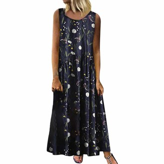 Ulanda Eu Womens Dresses Ulanda-EU Plus Size Maxi Dresses Women Sleeveless Bohemian Floral Print Linen Sundress Vintage Casual Holiday Beach Long Maxi Dress Navy