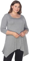 Plus Size White Mark Handkerchief Tunic Top