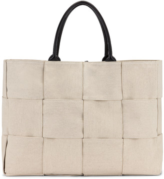 Bottega Veneta Large Woven Canvas & Leather Tote in Naturale & Black & Gold | FWRD