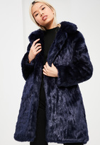 Missguided Blue Oversized Collar Faux Fur Coat