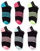 Xhilaration Women's 6-pk Socks Microfiber Stripe Black One Size