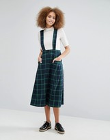 Monki Check Pinafore Skirt