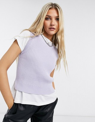 Monki Tea sleeveless knitted tank in lilac