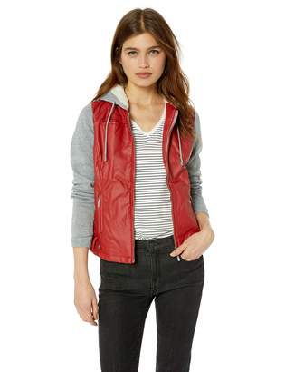 Yoki Women's Faux Leather Jacket with Fleece Sleeves and Hood Outerwear