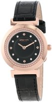 Johan Eric Women's JE1200-09-007 Djursland Rose Gold Ion-Plated Stainless Steel Black Leather Swarovski Crystal Watch