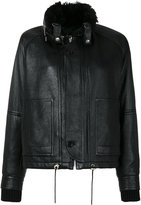 Saint Laurent slouchy leather parka jacket - women - Cotton/Lamb Skin/Sheep Skin/Shearling/Cupro - 36