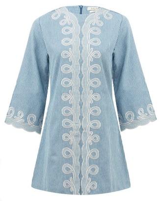 Innika Choo Penny Pyncha Striped Organic-cotton Mini Dress - Womens - Blue Stripe